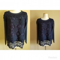 Vintage navy knit with crochet detail